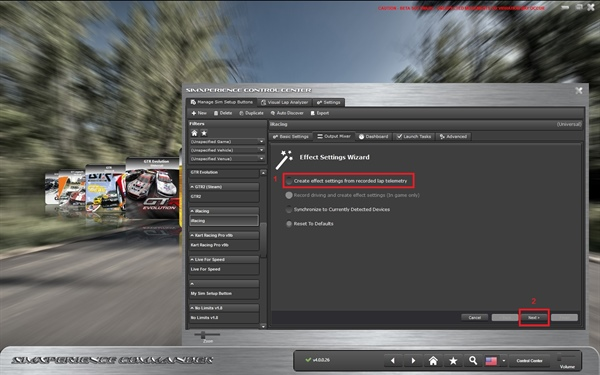 Create effect settings from lap telem 1